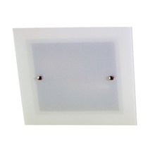 Plafon Attena Flex Quadrado Aço e Vidro Branco Bivolt