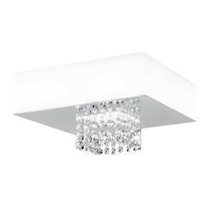 Plafon LED LLUM Quadrado Cristal, Metal e Plástico Branco 20W