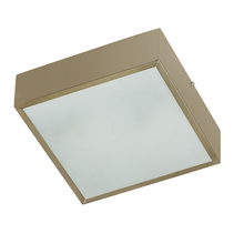 Plafon Lampa Lustre POP Quadrado Alumínio e Vidro Bronze