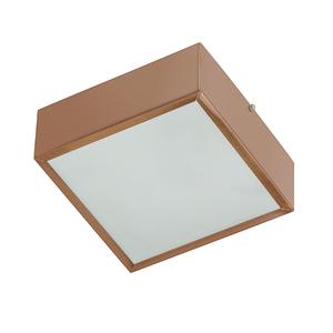 Plafon Lampa Lustre POP Quadrado Alumínio e Vidro Cobre
