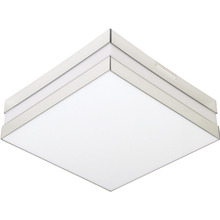 Plafon Tualux Quadrado Metal e Plástico Espelhado 2 Lâmpadas Bivolt