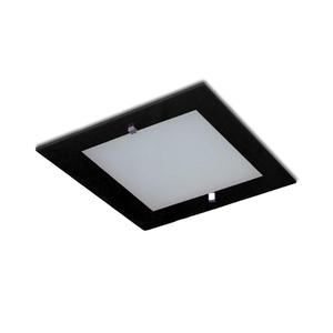 Plafon Attena Quadrado Metal e Vidro Branco 1 Lâmpada Bivolt