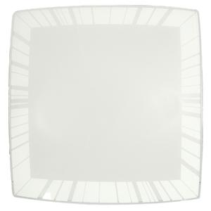 Plafon Inspire Raio Quadrado Alumínio e Vidro Branco Bivolt