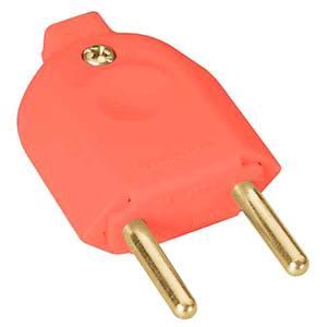 Plugue macho 10A até 250V plástico anti-chama liga de cobre laranja Tramontina