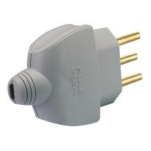 Plugue macho 10A até 250V 2P+T plástico anti-chama liga de cobre cinza Pial