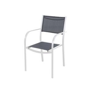 Poltrona Aço/Textilene Branco e Cinza 83,50x57,50cm Importado