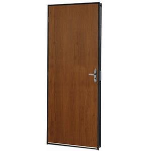 Porta montada de giro lisa madeira metal mogno direito 2 for Porta leroy merlin