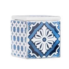 Porta Algodão Azul em Cerâmica Mosaic Sensea