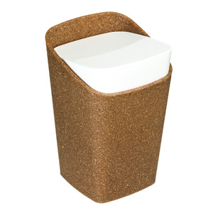 Porta Algodão Plástico Retangular com Tampa Square Bios Marrom e Branco