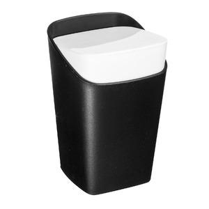 Porta Algodão Plástico Retangular com Tampa Square Preto