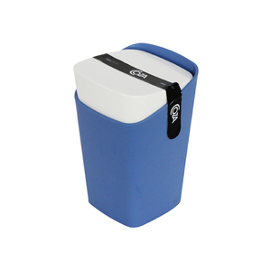 Porta Algodão Plástico Retangular com Tampa Square Azul