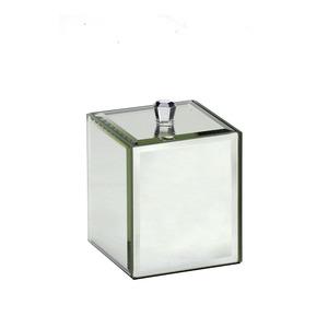 Porta Algodao Prata em Vidro Espelhado Mabruk