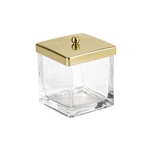 Porta Algodão Vidro e Plástico Casilla Dourado Interdesign