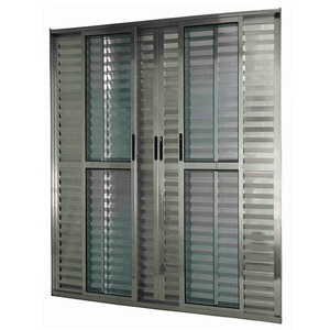 Porta Balcão Correr Alumínio Brilhante 210 cmx200 cmx11,3 cm 6 folhas L25 Atlântica