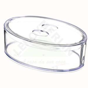 Porta Cotonete com Tampa Retrô Cristal Coza