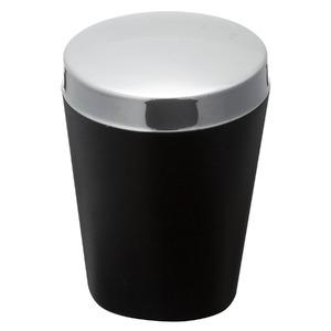 Porta Cotonetes Plástico e Metal Redondo com Tampa Plástico Preto