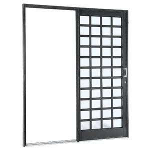 Porta de correr Silenfort Aço 217 x 180 x 7 cm Quadriculado 1 folha Sasazaki