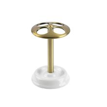 Porta Escova de Dente Branco e Dourado em Cerâmica e Metal Reconnect Interdesign