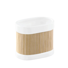 Porta Escova de Dente Branco e Marrom em Cerâmica Essential Interdesign