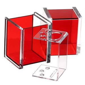 Porta Escova de Dente Mesa com Tampa  Acrílico Quadrado Vermelho Formacril