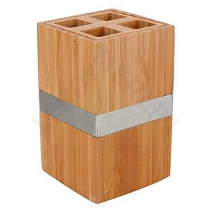 Porta Escova de Dente Mesa sem Tampa Bambu Quadrado Natural Importado