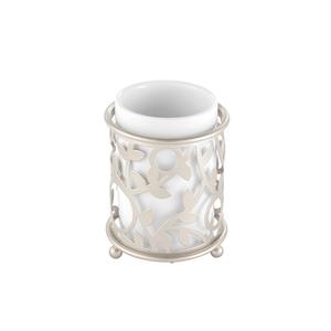 Porta Escova de Dente Metal e Cerâmica Redondo Vine Branca Hudson
