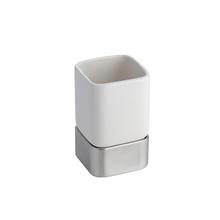 Porta Escova de Dente Metal e Cerâmica Retangular Gia Branca Hudson