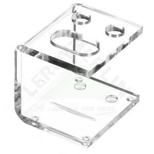 Porta Escova de Dente para 2 Escovas de Mesa sem Tampa em Acrílico Quadrado Cristal Formacril