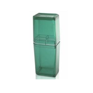 Porta Escova de Dente Plástico e Metal Pia com Tampa Verde