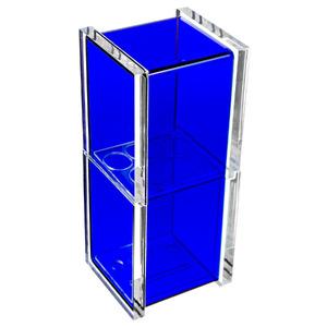 Porta Escovas de Dente Acrílico Pia Quadrado com Tampa Nobre Azul