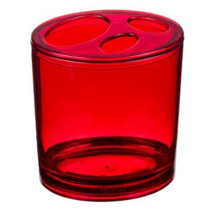 Porta Escovas de Dente Acrílico Pia Oval com Tampa Retrô Vermelho Transparente