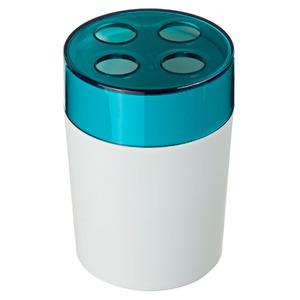 Porta Escovas de Dente Plástico Redondo sem Tampa Color Azul e Branco