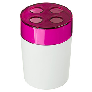 Porta Escovas de Dente Plástico Redondo sem Tampa Color Rosa e Branco