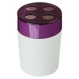 Porta Escovas de Dente Plástico Redondo sem Tampa Color Roxo e Branco