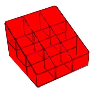 Porta Esmalte Plástico Vermelho 7,7x11x11
