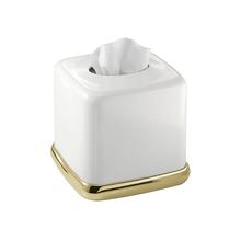 Porta Lenço Branco e Dourado em Metal Gold Interdesign