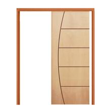 Porta Montada de Correr Decorada Madeira Curupixá Ambos os Lados 2,1x0,72m Esquadrias Sidney