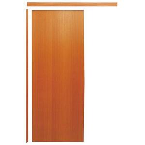 Porta Montada de Correr de Madeira Angelim Lisa Esquerdo 2,13x0,85m Madecen