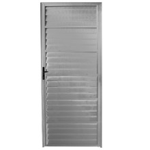 Porta Montada de Giro Veneziana Sem Ventilação Metal Alumínio Direito 2,1x0,86m Fortline Atlântica