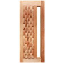 Porta Montada Decorada Pivotante Sólida Madeira Ambos os Lados 2,1X1,1m SM Esquadrias