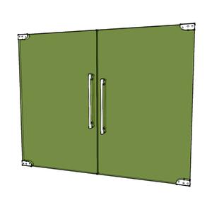 Porta Montada Pivotante Lisa de Vidro Verde 8mm Ambos os Lados BR Baldex