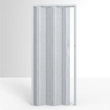 Porta Montada Sanfonada Lisa Cinza Marmorizado de PVC 2,10X0,97m Permatti