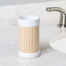 Porta Objeto de Banheiro Branco e Marrom em Cerâmica Essential Interdesign