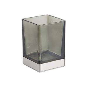 Porta Objeto de Banheiro Cassila Preto e Cromado Vidro e Plástico Interdesign