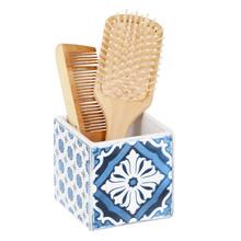 Porta Objeto de Banheiro Cerâmica Quadrado Azul Mosaic Sensea