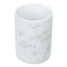 Porta Objeto de Banheiro Louça Pia Redondo sem Tampa Floral Branco