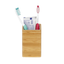 Porta Objeto de Banheiro Madeira Quadrado Bamboo Natural Sensea