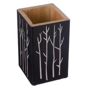 Porta Objeto de Banheiro Madeira Quadrado sem Tampa Wood Preto