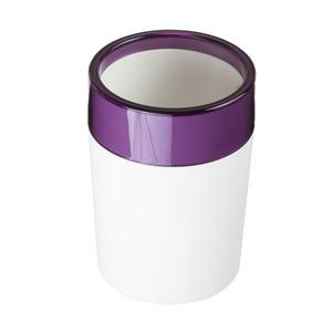 Porta Objeto de Banheiro Plástico Redondo sem Tampa Color Roxo e Branco
