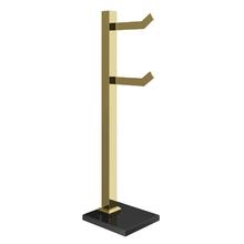 Porta Papel Higiênico de Chão Metal e Vidro Duplo Premium Dourado Ducon Metais